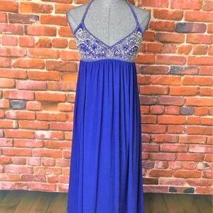 Nightway Cobolt Blue Jeweled Halter Evening Dress